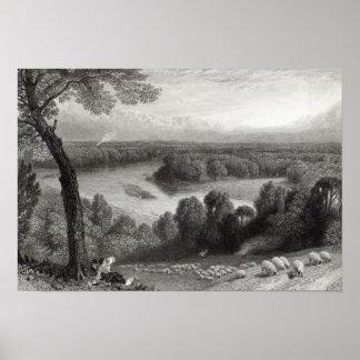 El Thames de la colina de Richmond Póster