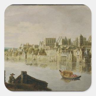 El Thames en las escaleras de Westminster, c.1630 Pegatina Cuadrada