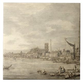 El Thames que mira hacia Westminster de Y cercana Azulejo Cuadrado Grande