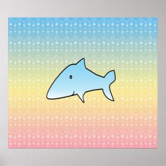 El tiburón azul en el arco iris en colores pastel  poster