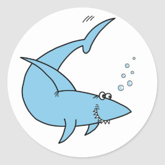 El tiburón de la cuchilla del arado pegatina redonda
