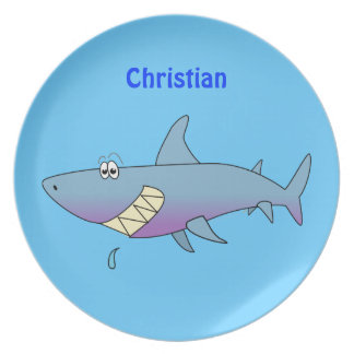 El tiburón lindo del dibujo animado personalizado  plato de comida