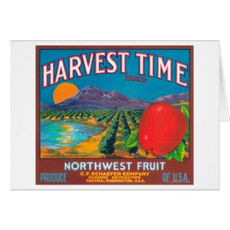 El tiempo de cosecha Apple etiqueta - Yakima, WA Tarjeta De Felicitación