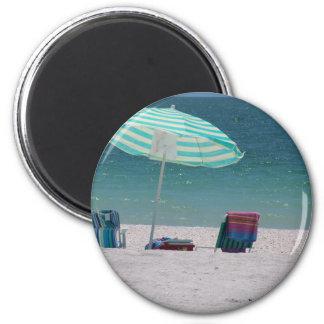 El tiempo de la playa está cerca imán