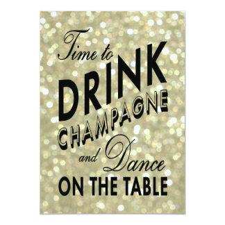 El tiempo del Año Nuevo del oro para beber la Invitación 12,7 X 17,8 Cm