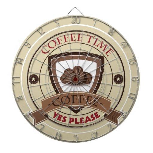 El tiempo del café satisface sí el logotipo tabla dardos