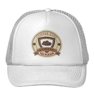 El tiempo del café satisface sí el logotipo gorros
