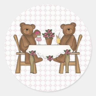 El tiempo del oso de peluche para la limonada pegatina redonda