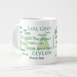El tiempo del té/el té mecanografía la nube de la  tazas extra grande