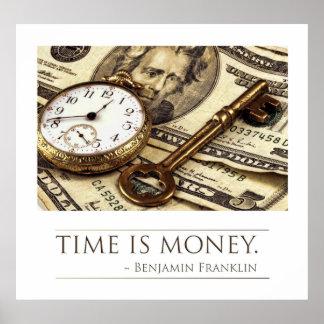 El tiempo es oro - cita de Franklin Póster