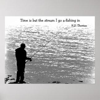 El tiempo es solamente la corriente póster