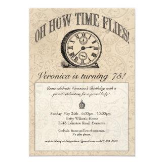El tiempo vuela la invitación del reloj - vintage
