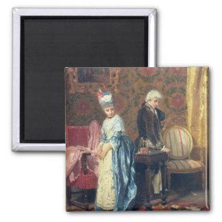 El tiff de los amantes, 1872 (aceite en el panel) imán cuadrado