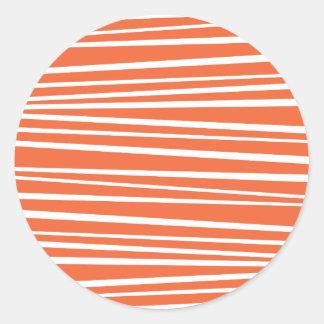 El tigre abstracto anaranjado moderno raya zigzag pegatina redonda