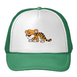 El tigre anaranjado lindo gritador Cub de bebé Gorras