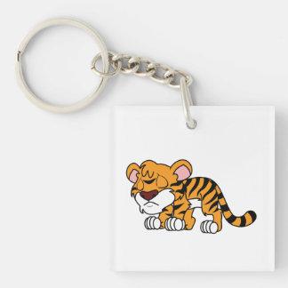 El tigre anaranjado lindo gritador Cub de bebé Llavero Cuadrado Acrílico A Doble Cara