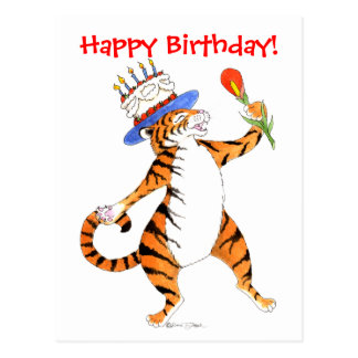 El tigre canta el feliz cumpleaños - postal