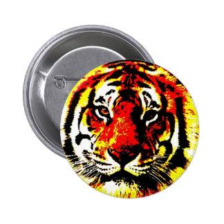 El tigre cómico retro del estilo observa el botón pin redondo de 2 pulgadas