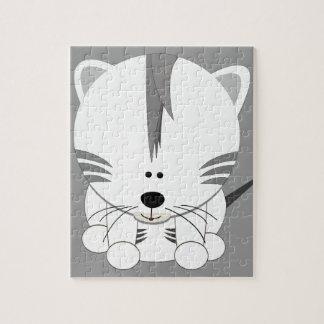 El tigre Cub blanco desconcierta con lata Rompecabeza Con Fotos