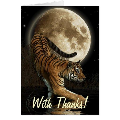 El TIGRE de Bengala, está en la luna el gato grand Tarjeta De Felicitación