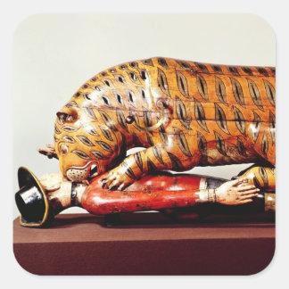 El tigre de Tipu, c.1790 (madera) Pegatina Cuadrada