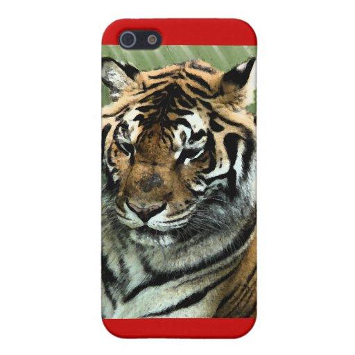 El tigre encendido Rojo-Personaliza nombre iPhone 5 Fundas
