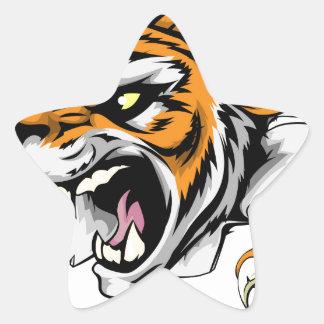 El tigre enojado se divierte la mascota pegatinas forma de estrella personalizadas