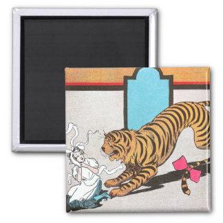 El tigre hambriento de la onza imán cuadrado