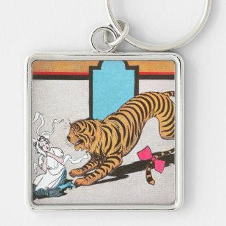 El tigre hambriento de la onza llavero cuadrado plateado