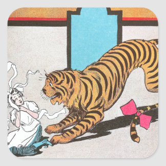 El tigre hambriento de la onza pegatina cuadrada
