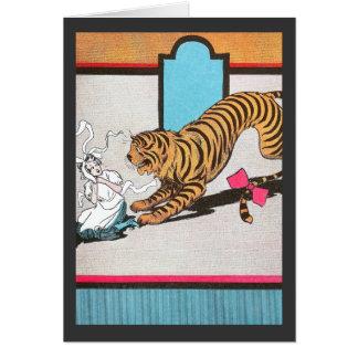 El tigre hambriento de la onza tarjeta de felicitación