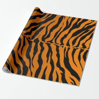 El tigre negro y anaranjado raya el estampado de papel de regalo