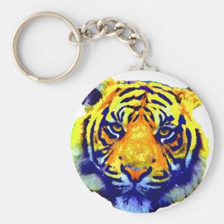 El tigre observa arte pop llavero redondo tipo pin