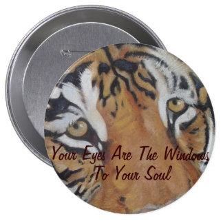 el tigre observa el botón animal del arte de la pin redondo de 4 pulgadas