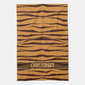 El tigre raya el modelo de la piel personaliza toalla