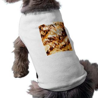El tigre raya - impresión marrón de oro - persigue playera sin mangas para perro