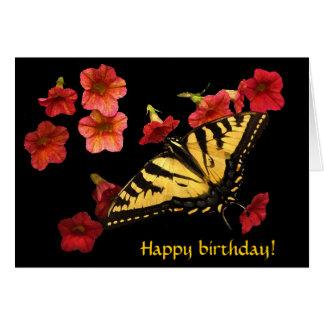 El tigre Swallowtail en rojo florece cumpleaños Tarjeta De Felicitación