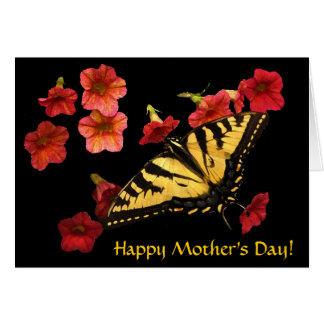 El tigre Swallowtail en rojo florece día de madres Tarjeta De Felicitación