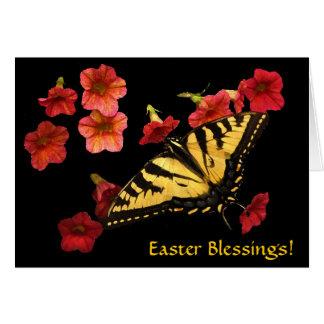 El tigre Swallowtail en rojo florece Pascua Tarjeta De Felicitación