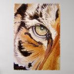 """El """"tigre teja"""" la acuarela del mosaico de la cara poster"""