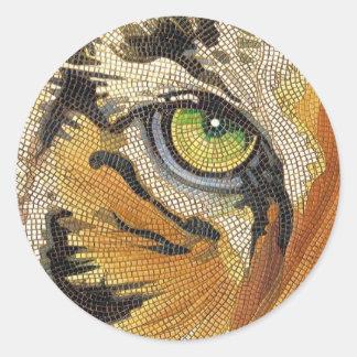 """El """"tigre teja"""" la acuarela del mosaico de la cara etiquetas redondas"""