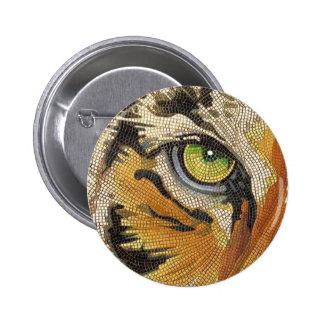 """El """"tigre teja"""" la acuarela del mosaico de la cara pin redondo 5 cm"""