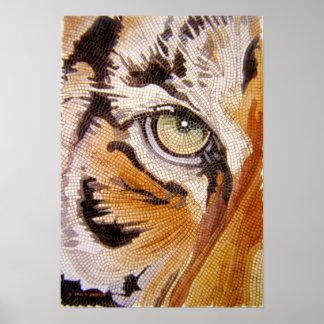 """El """"tigre teja"""" la acuarela del mosaico de la cara póster"""