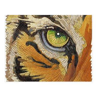 """El """"tigre teja"""" la acuarela del mosaico de la cara tarjetas postales"""