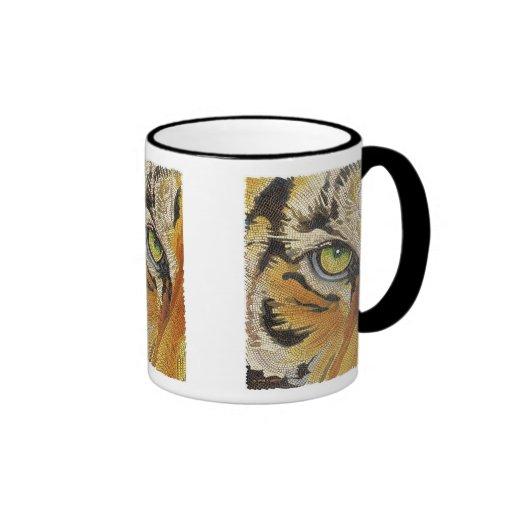 """El """"tigre teja"""" la acuarela del mosaico de la cara taza de café"""