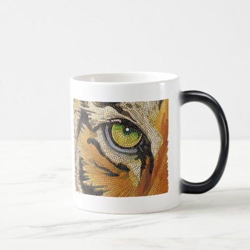 """El """"tigre teja"""" la acuarela del mosaico de la cara taza mágica"""