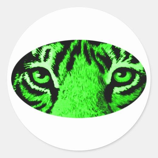 El tigre verde observa los regalos de Zazzle del Pegatina Redonda