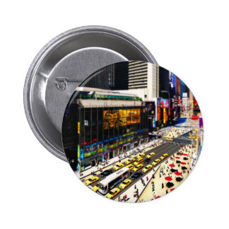 El Times Square de Nueva York en miniatura Pin Redondo De 2 Pulgadas