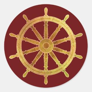 El timón de la nave etiquetas redondas