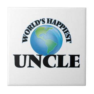 El tío más feliz del mundo azulejo cuadrado pequeño